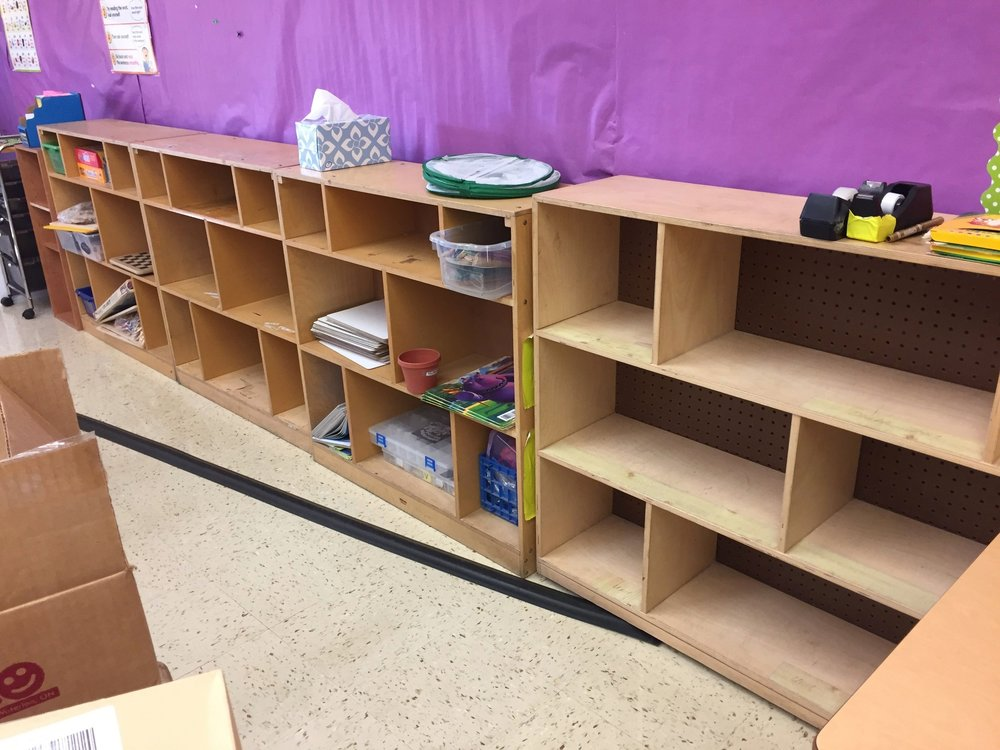 1st Grade Supply Shelf-Before