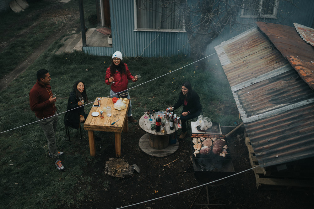 Outside the hostel we grilled pork, chicken, and sausages during a typical  Asado.  We talked about the receding glaciers, the science education system in Chile, and recycling. We also listened to music and enjoyed each other's company.