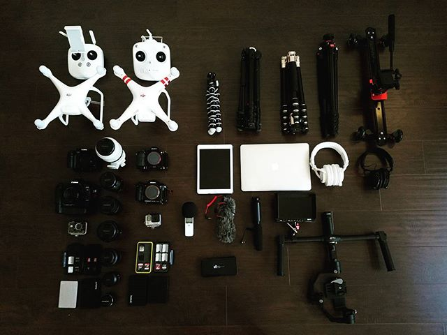 Gearing up for our next video. - - - #cinematography #videography #video #cameras #gh4 #canon #sony #panasonic #dji #djiphantom3 #djiphantom4pro #manfrotto #zhiyuncrane #gimbal #macbookair #ipad #photography #california #losangeles #cinematic #cameragear