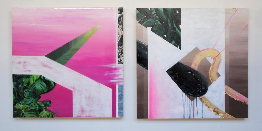"""Synthesis (plastic and plant), acrylic and resin on board, 24""""x24"""" each"""