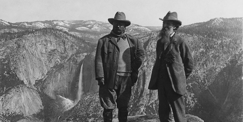 "In (1903) President Theodore Roosevelt sent John Muir a letter asking to meet in Yosemite. ""I want to drop politics absolutely for four days and just be out in the open with you."""