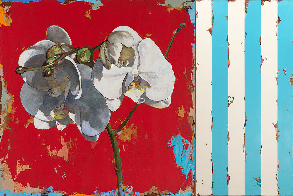 David Palmer, Flowers 6 with Blue Stripes