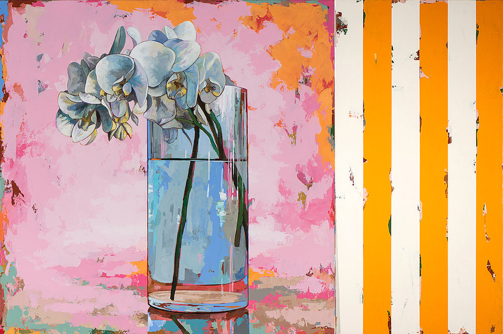 David Palmer, Flowers 17 with Orange Stripes