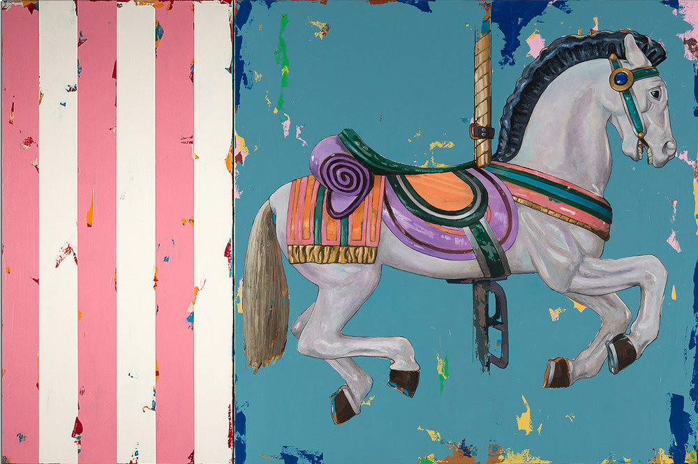 David Palmer, Horses 2 with Pink Stripes