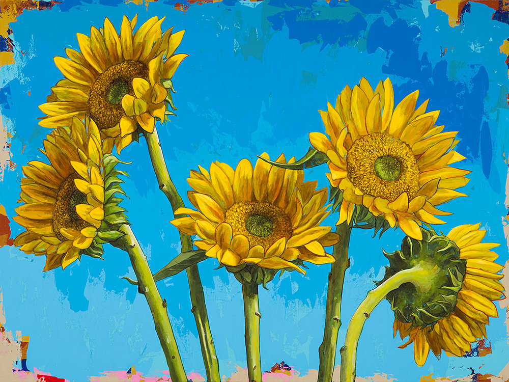 "Sunflowers #5 by David Palmer - Original Painting on Canvas 30""x40"" - $3,200"