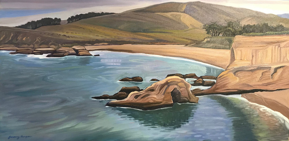 "Spooner's Cove, Original Oil on Canvas 18""x36"""