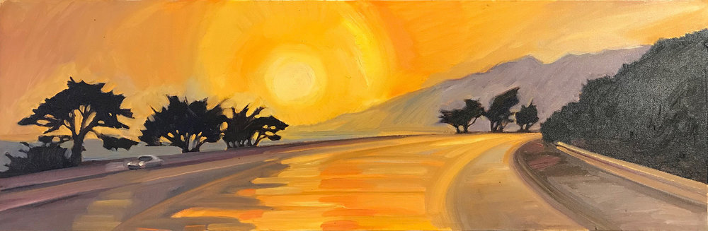 "Cypress Sunset, Original Oil on Canvas 10""x30"""