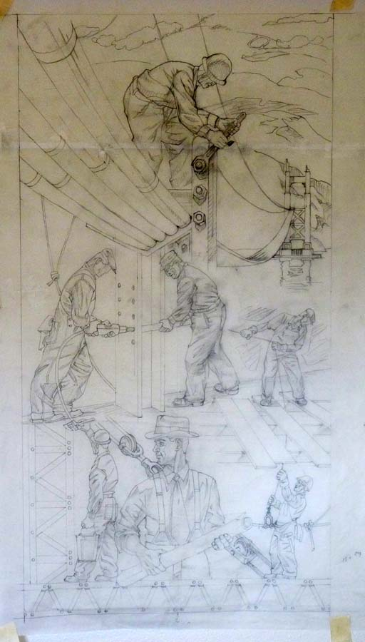 Early pencil drawing on tissue paper focusing on the line-work and composition of the piece.