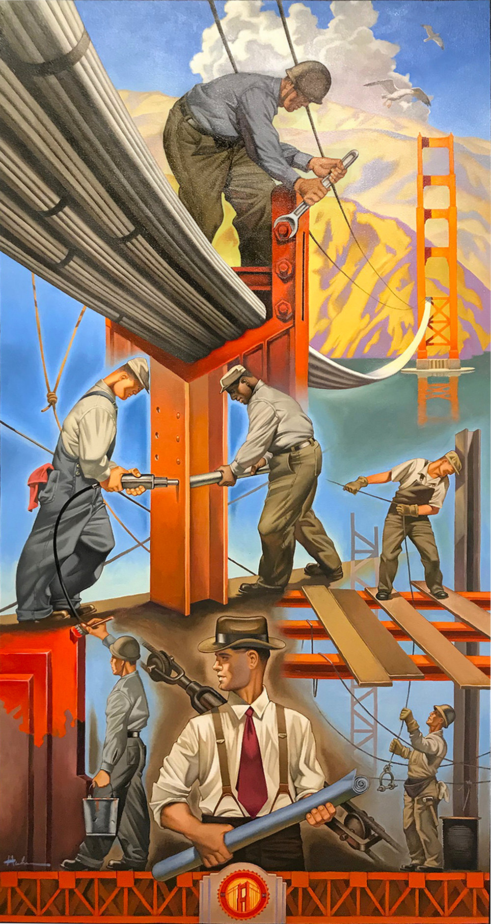 """A Symphony In Steel"" Finished Oil Painting 30""x58"""