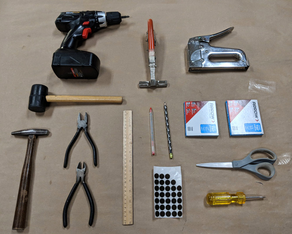A special thanks to all the tools that make stretching canvas at our gallery possible!