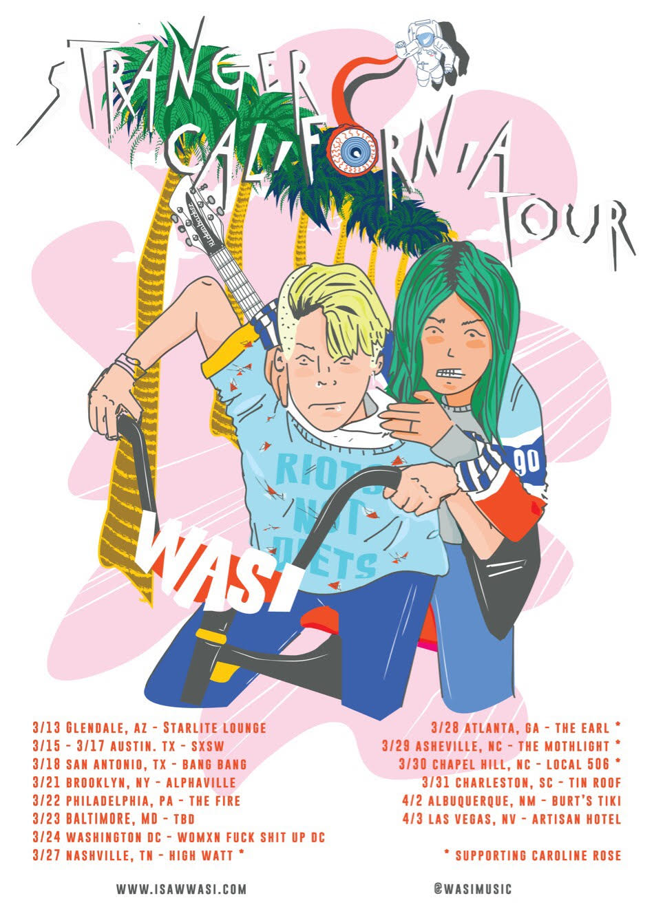 WASI - Electro dance pop rock with a splash of punk might be a mouthful, but it's necessary when describing west coast based duo WASI. Comprised of Merilou Salazar and Jessie Meehan, with rotating touring musicians, this pair have just released a brand new single titled