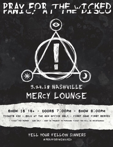 Panic! At The Disco - Venue: Mercy LoungeCity: Nashville, TNDate: March 24, 2018