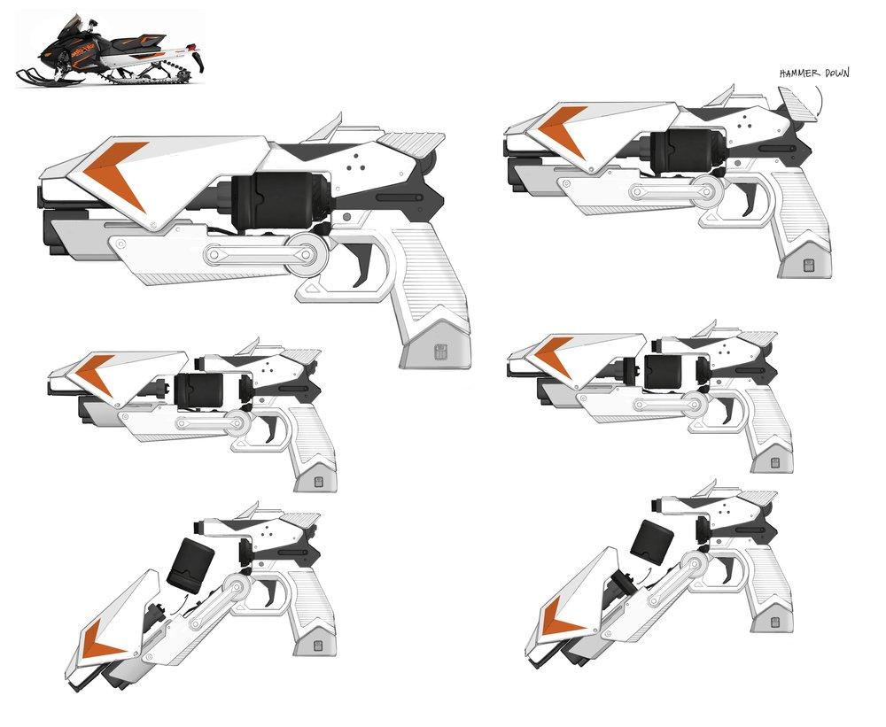 Snowmobile-inspired sidearm