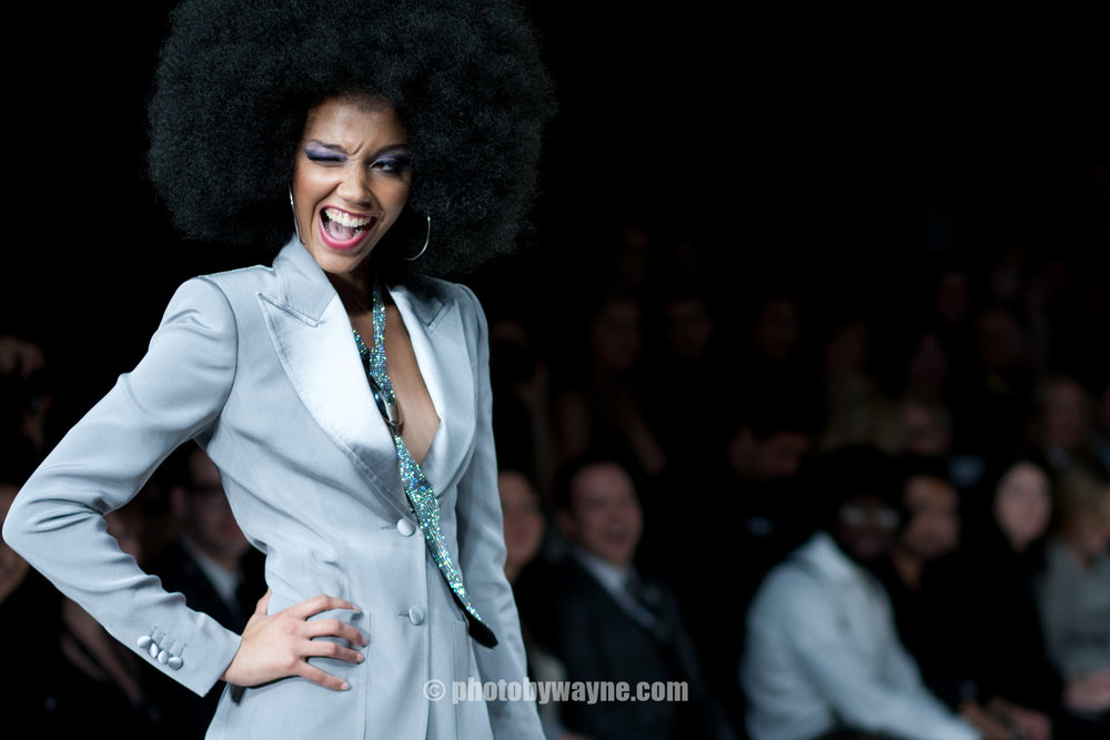afro female model fashion runway