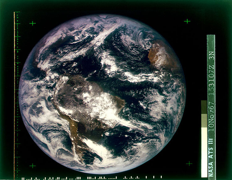 """Source: World Science Festival.""""This first color photograph of the entire Earth was taken in November 1967, by the experimental NASA communications and weather satellite ATS-3."""""""