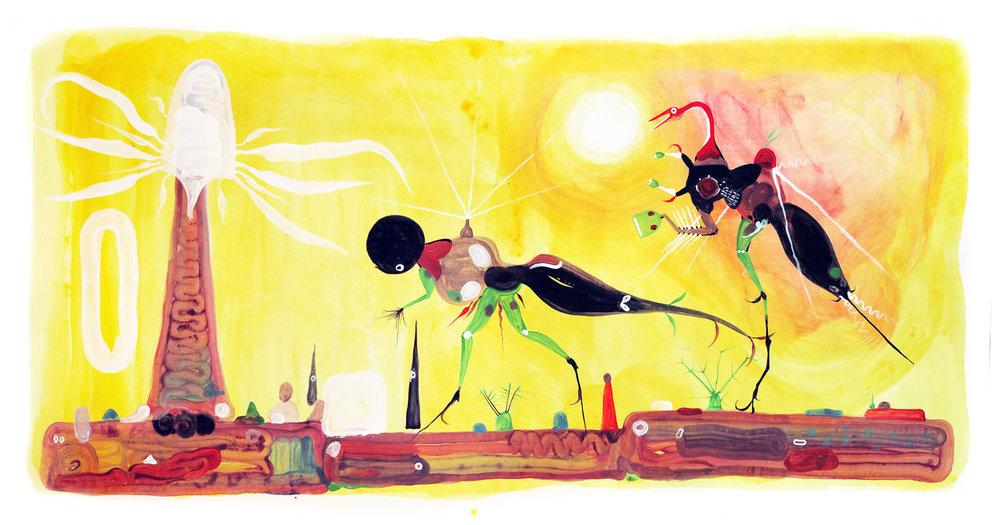 """Kilyos,"" acrylics on paper, 100 x 43 cm."