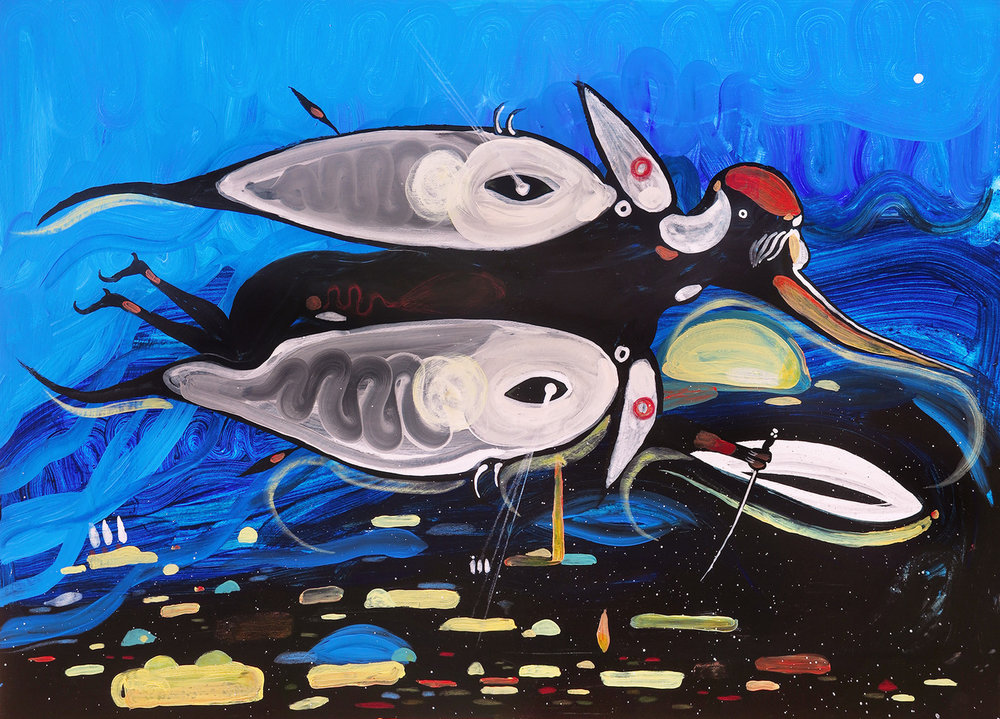 """Untitled (Blue Flight),"" acrylics on cardboard, 70 x 50 cm."