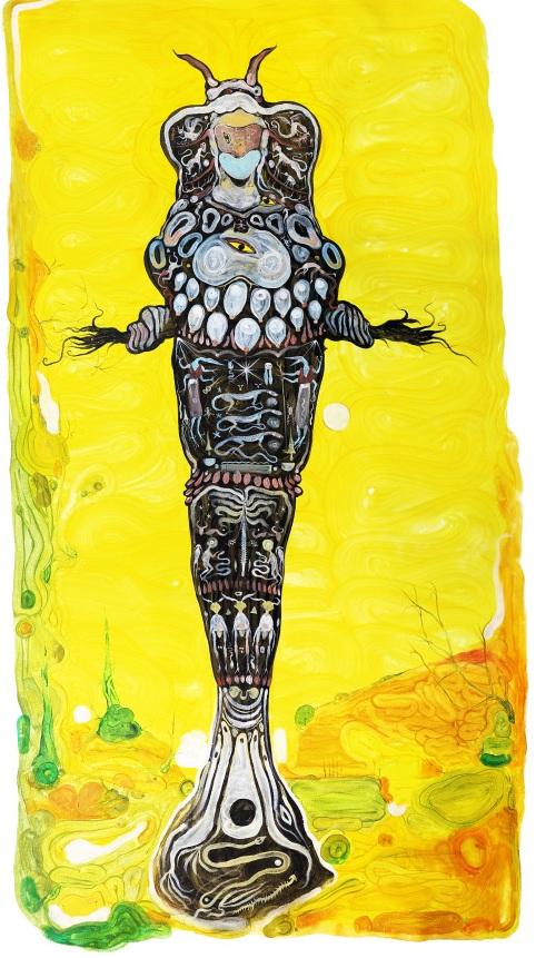 """Demeter,"" acrylics on canvas, 160 x 90 cm."