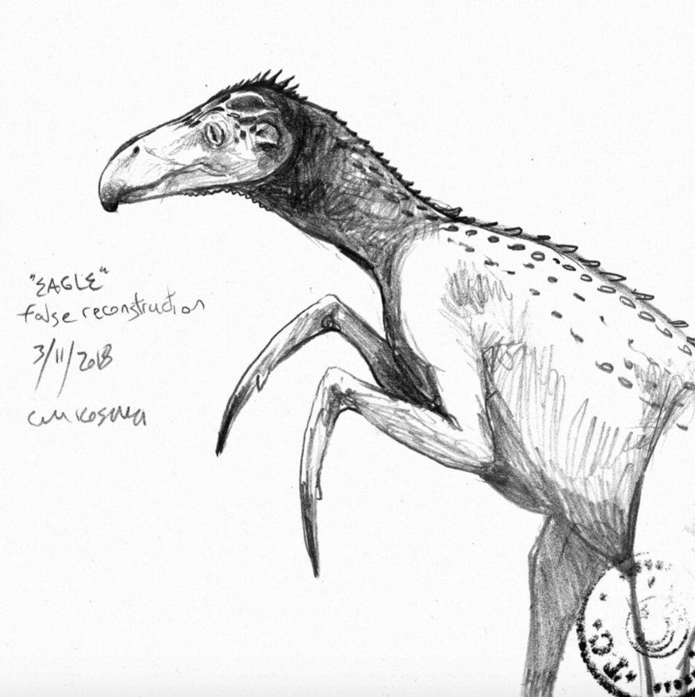 """Eagle"" false reconstruction,"" pencil sketch"