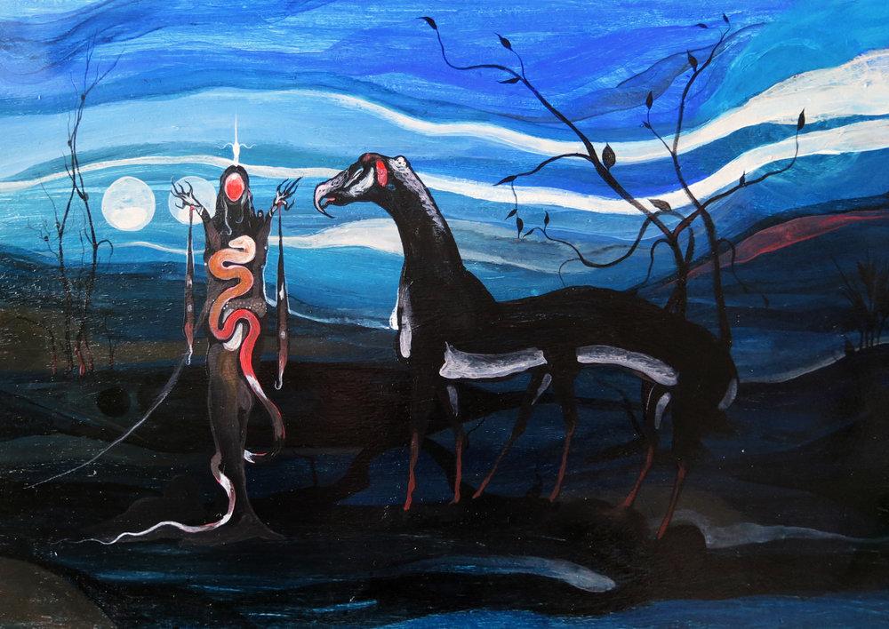 """""""Maal-Khioris,""""   acrylics on wood, 48 x 60 cm."""