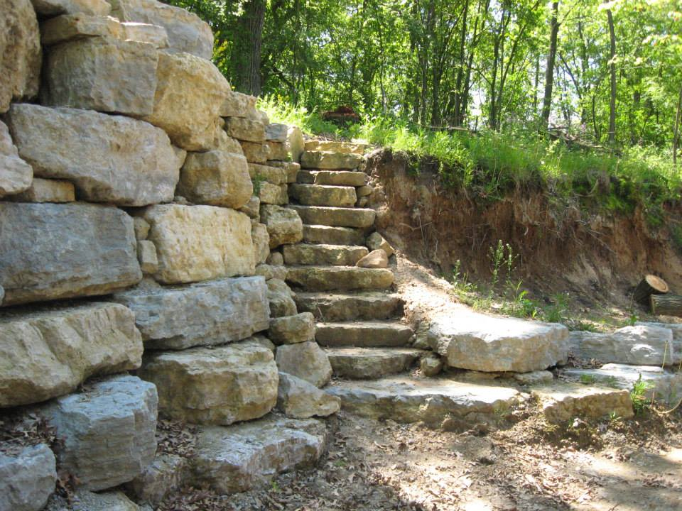 Limestone Wall With Steps
