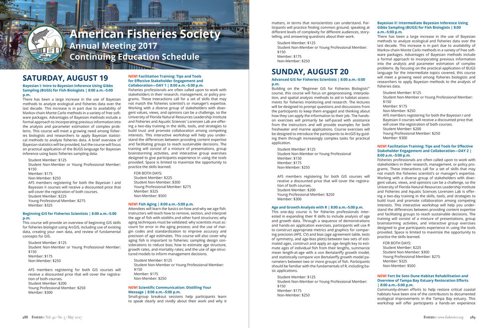 Fisheries Magazine, Conference schedule (American Fisheries Society)