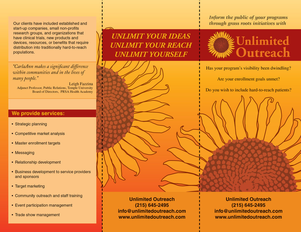 Trifold Brochure, Unlimited Outreach