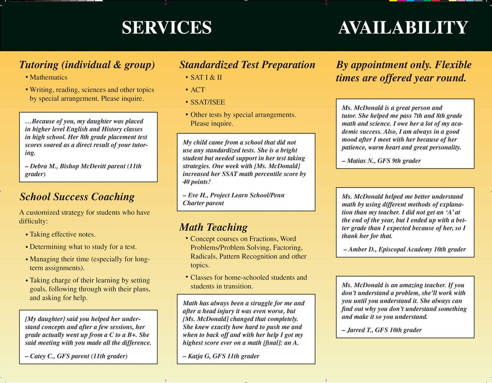 Trifold brochure, private tutor