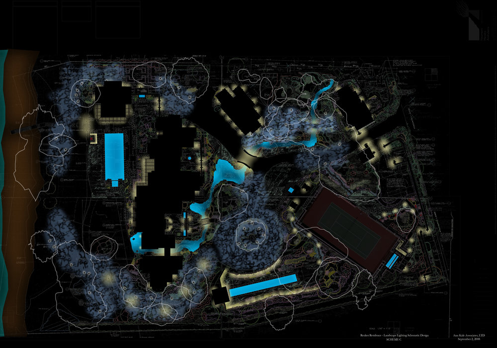 Private Residence Conceptual Rendering for Site Lighting Design