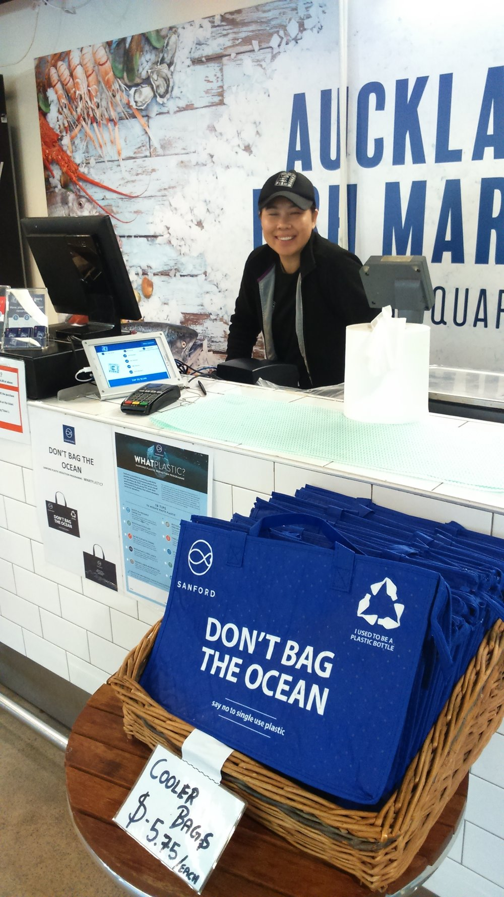 Cooler bags from recycled plastic bottles, on sale at Sanford's Auckland market. Photo: Stephen Harris