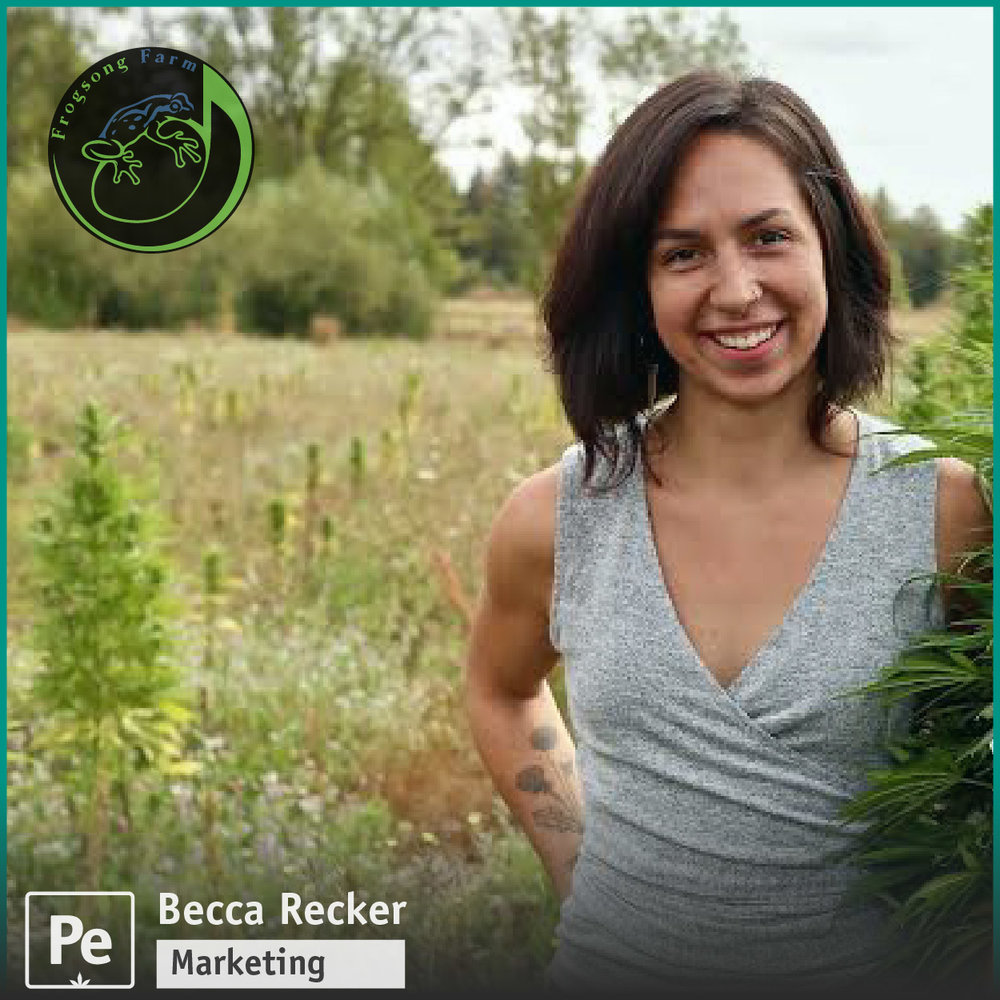 Becca Recker, Marketing Lead for Frog Song Farms, a craft hemp CBD grower in Oregon