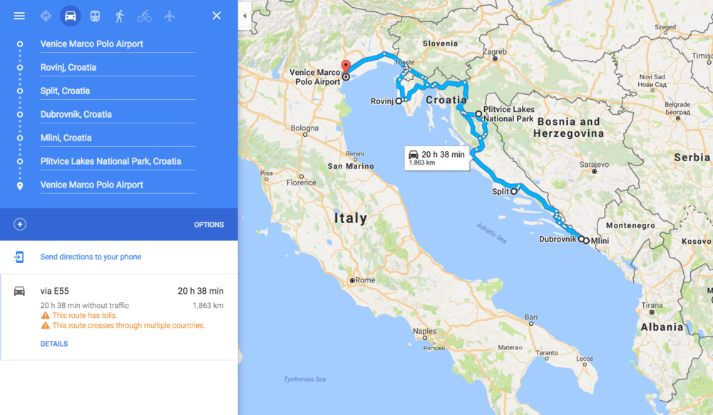 Croatia Road trip. Our Route Through Croatia
