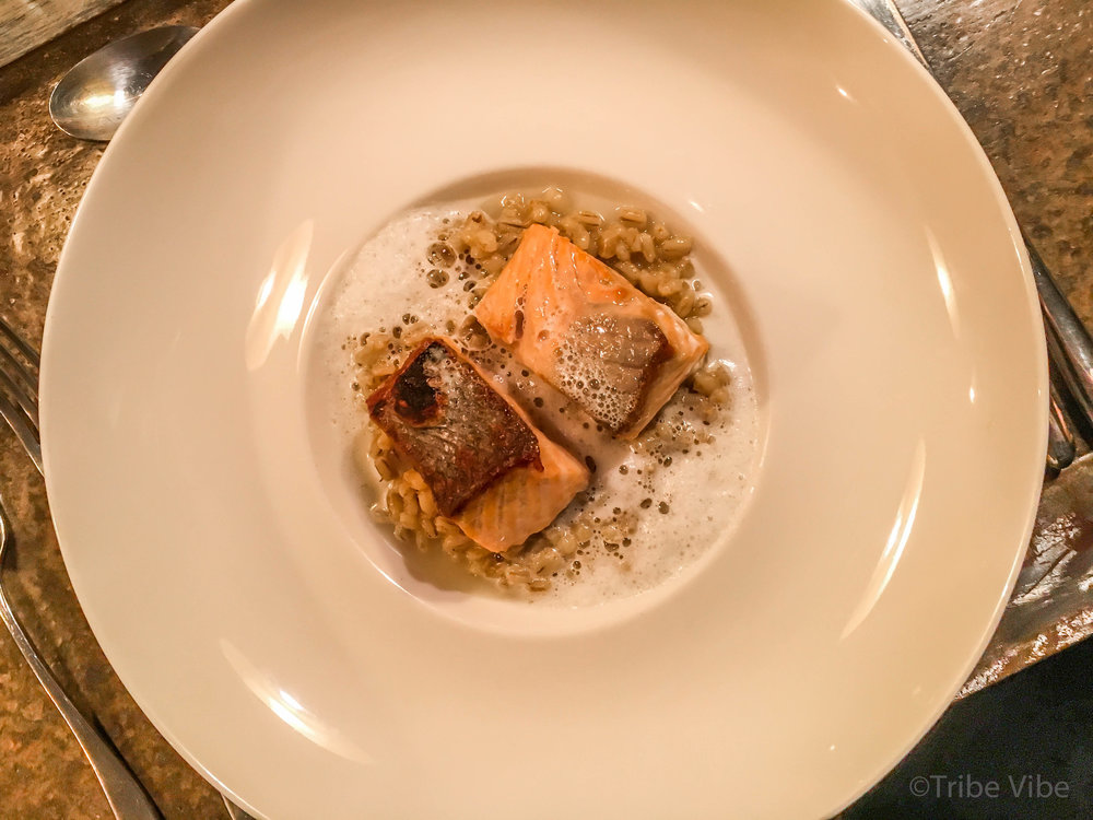 Dubai cooking class experience at Top Chef. Barley risotto with seared salmon.
