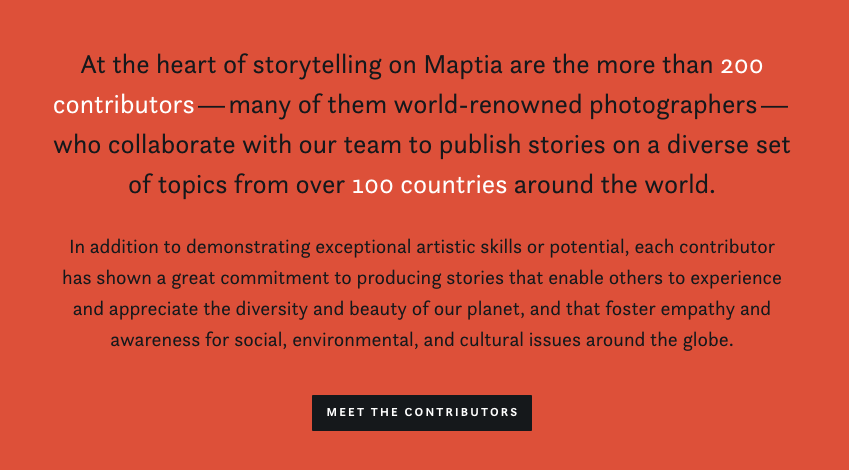 Maptia describing themselves on their about page.