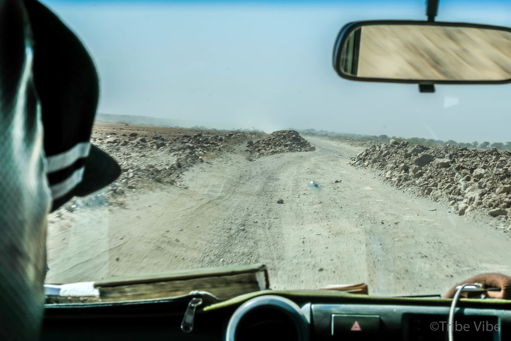 The long, dusty, bumpy drive from the Serengeti to Ngorongoro Conservation Area