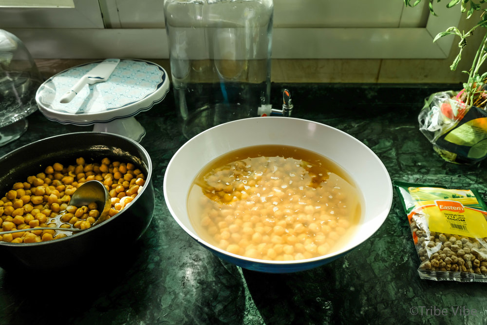 The process from dried to cooked chickpeas