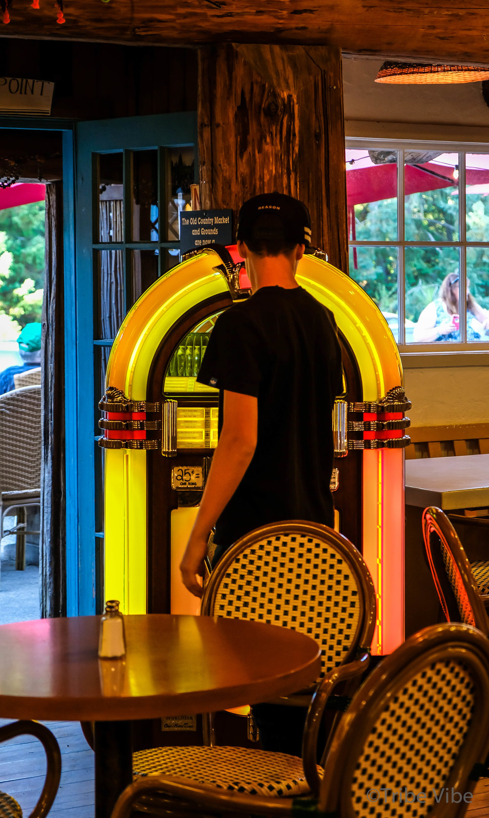 Learning how to work a Jukebox at the Coombs Old Country Market