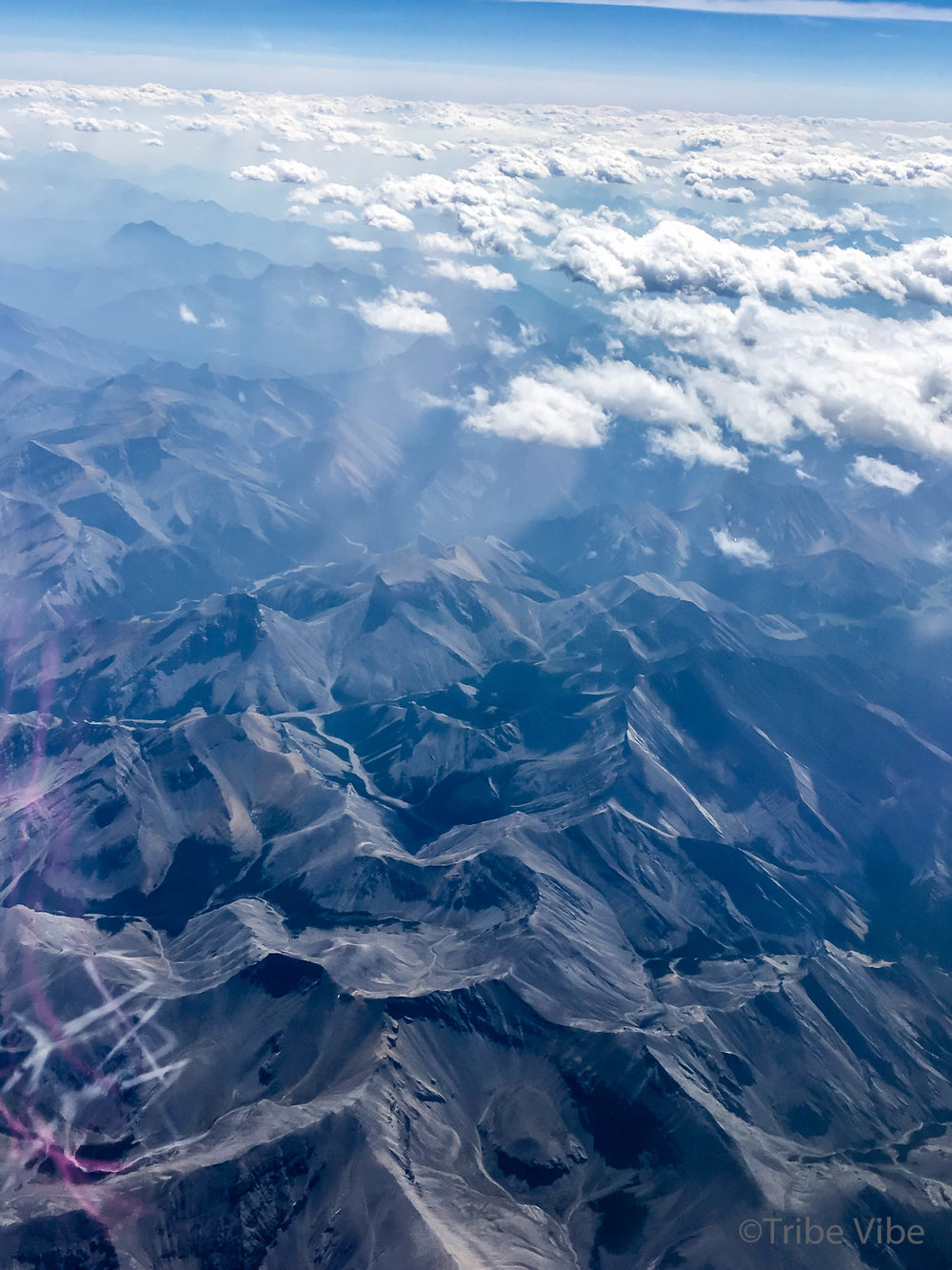 Photo from the airplane window,a fraction of the Canadian rocky Mountains. Incredible!