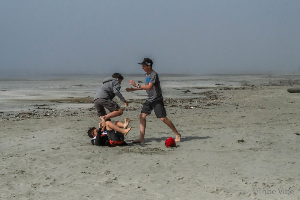 And time to play. Life with boys. Long Beach, Tofino, Canada