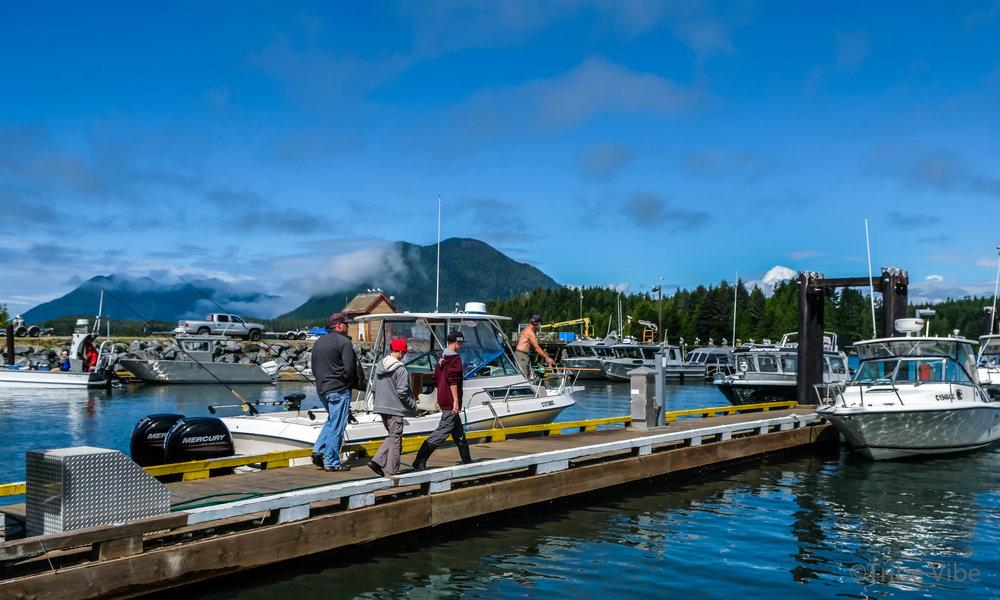 Walking to the fishing boat
