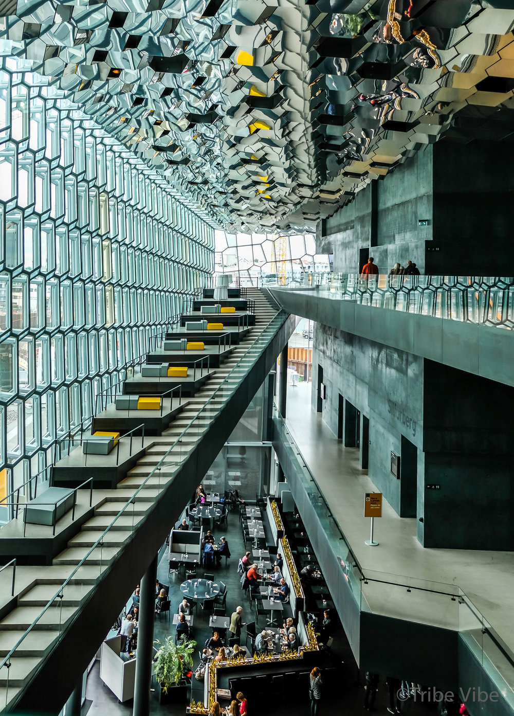 Gorgeous interior architecture of Harpa concert hall