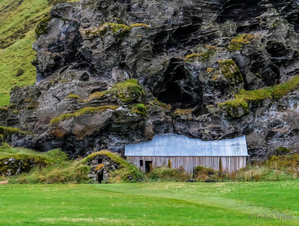 Turf house in front with the best barn in the background. My favourite piece of architecture in Iceland.