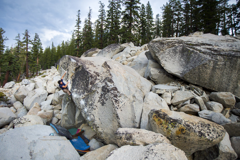 The first ascent of Stones Throw in Tuolumne. Photo: Ryan Alonzo