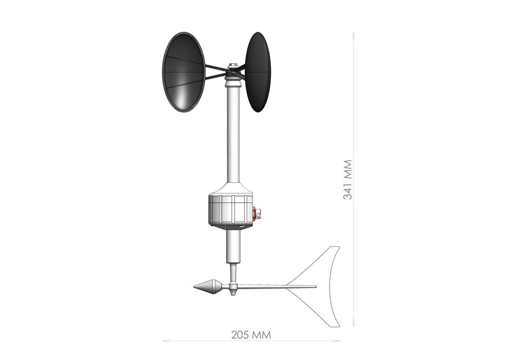 Meteowind 2 anemometer with wind vane dimensional drawing showing the sensor's compact size.