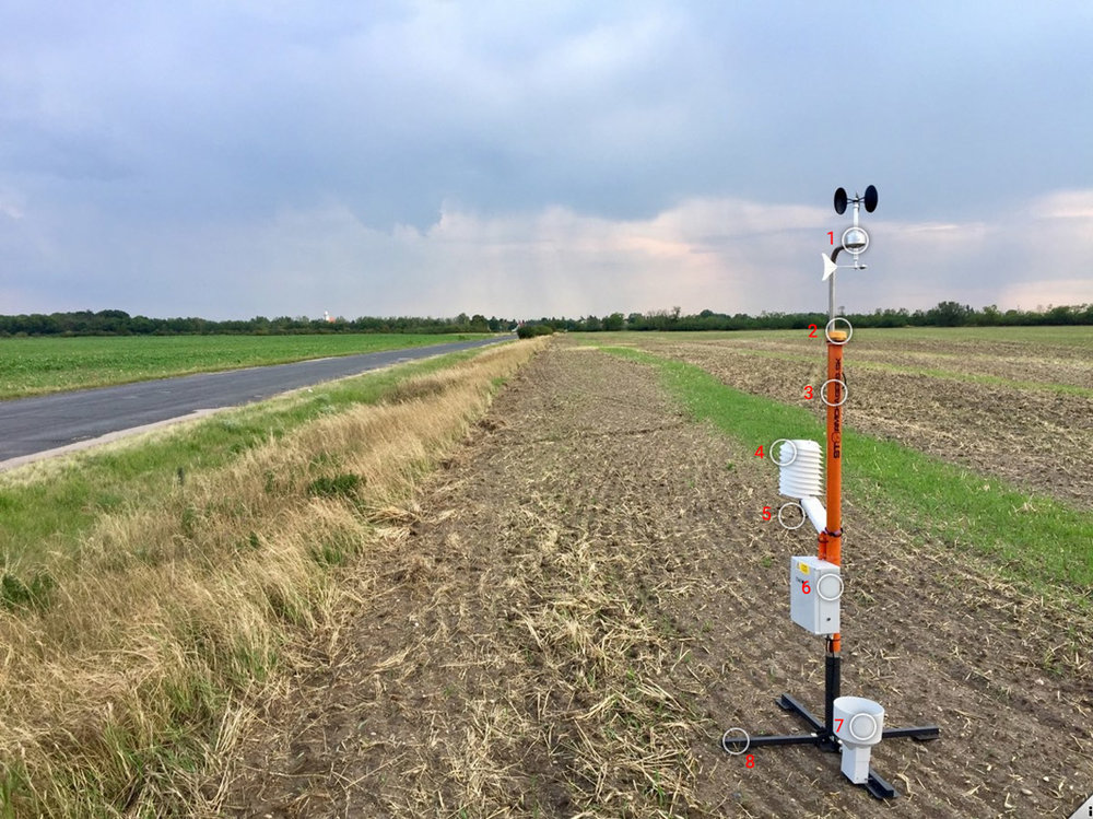 Portable professional weather station used for extreme weather storm chasing. Foldable anemometer and rain gauge ensure compactness and quick deploment in the field.