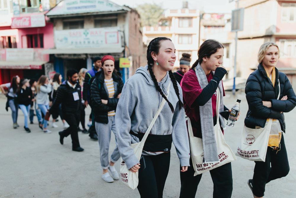 The group arriving in Kathmandu