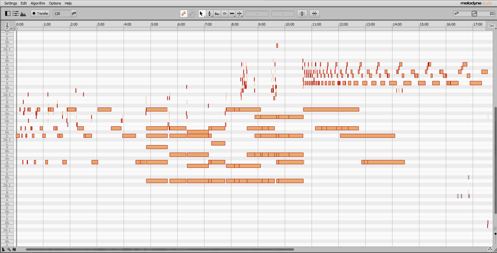 Melodyneの編集画面。指数関数的に各要素が長くなっていく様子がわかる[japanese]