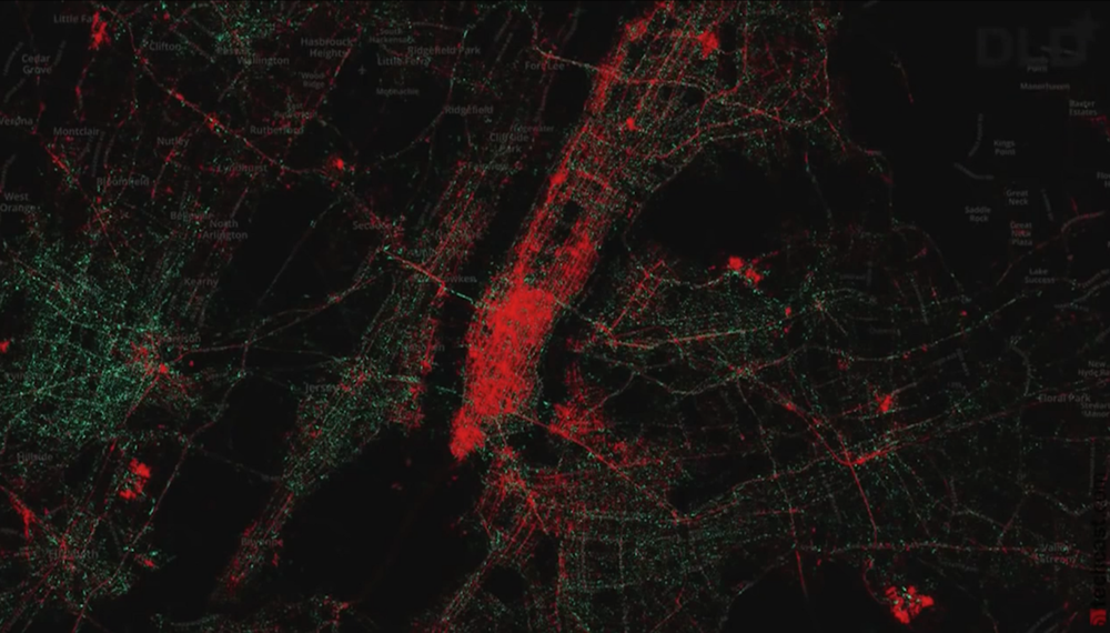 Mapa de sistemas operativos en la zona de New York/New Jersey. Nótese como en la isla de Manhattan, la zona más cara para vivir, predomina el uso de iOS (rojo). En los suburbios predominan teléfonos con Android (verde).