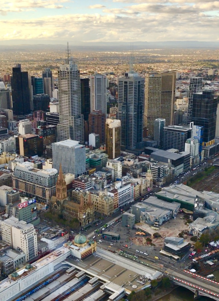 The view of the Melbourne CBD from the Eureka Tower
