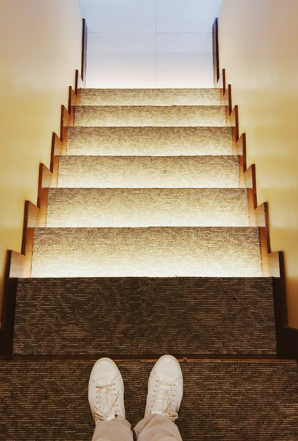 The stairs are well-lit for safety purposes